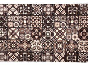 Alfombra Baldosa Hidráulica Mosaico Marrón