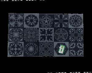Felpudo Fibra Poliester Antideslizante Mosaico Azul 40x70cm